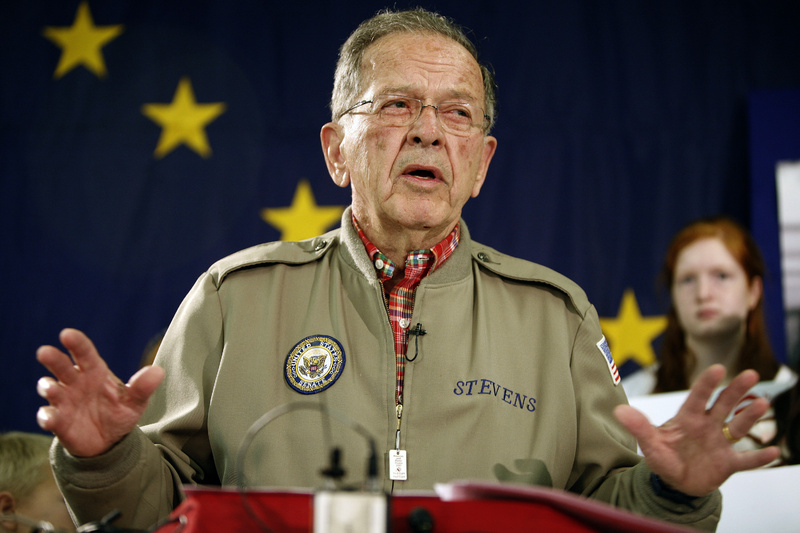 Former Sen. Ted Stevens, R-Alaska, speaks in Anchorage, Ala., in August 2008, announcing that he is running for re-election. Stevens was killed in a plane crash in southwest Alaska's remote mountains and lakes Monday.