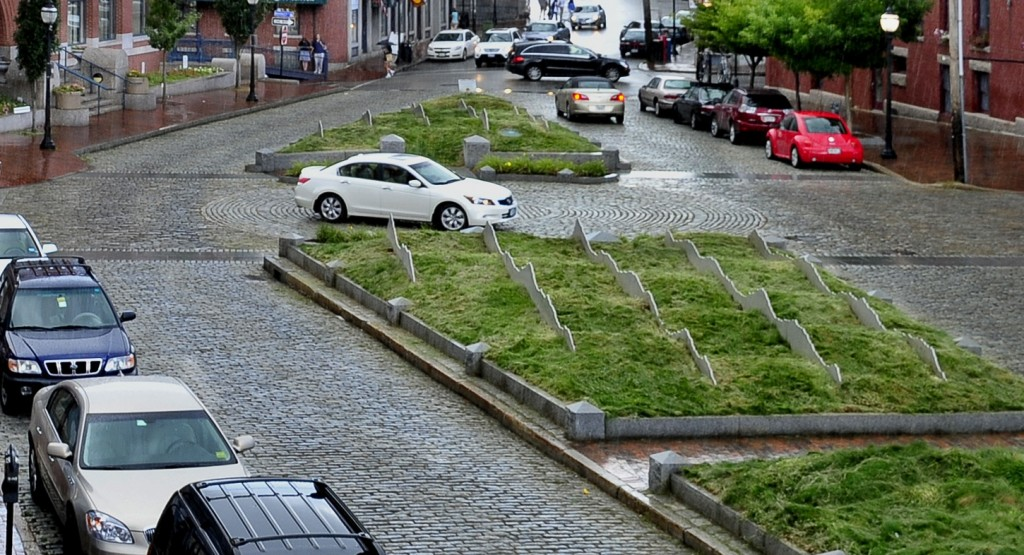 """Tracing the Fore,"" a $135,000 piece of landscape art installed in 2006 in Portland's Boothby Square, incorporates stainless steel ""waves"" with fescue grass that never thrived and led to many complaints from nearby businesses."