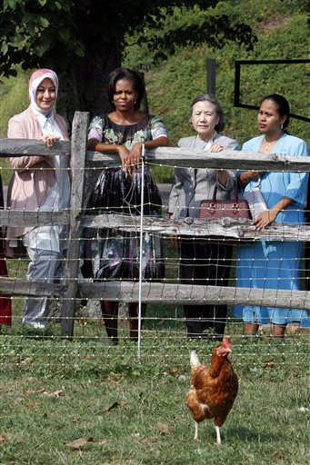Turkish first lady Hayrunnisa Gul, left, first lady Michelle Obama , second from left, the U.N. Secretary-General 's wife Ban Soon-taek, and Republic of Kiribati first lady Meme Tong take a tour of the chicken coop.