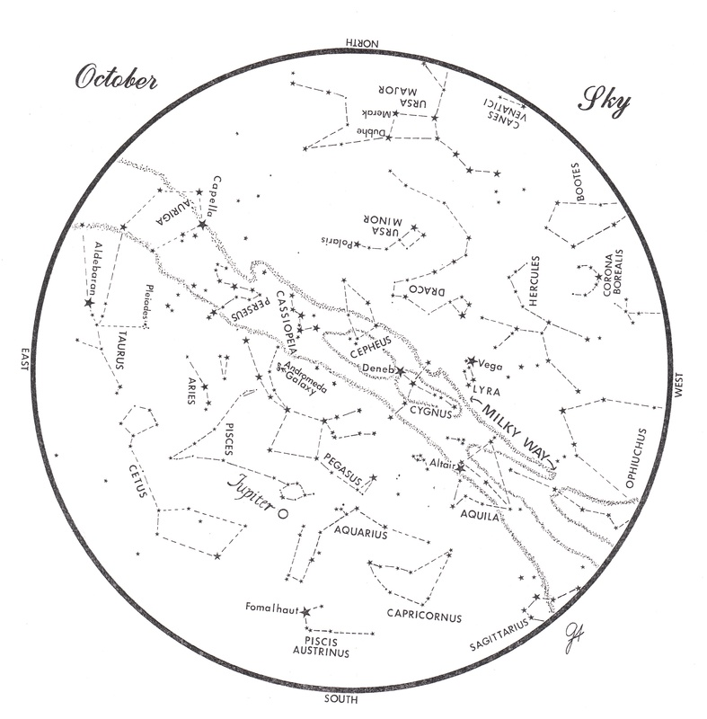 This chart represents the sky as it appears over Maine during October. The stars are shown as they appear at 10:30 p.m. early in the month, at 9:30 p.m. at midmonth and at 8:30 p.m. at month's end. Jupiter is shown in its midmonth position. To use the map, hold it vertically and turn it so the direction you are facing is at the bottom.