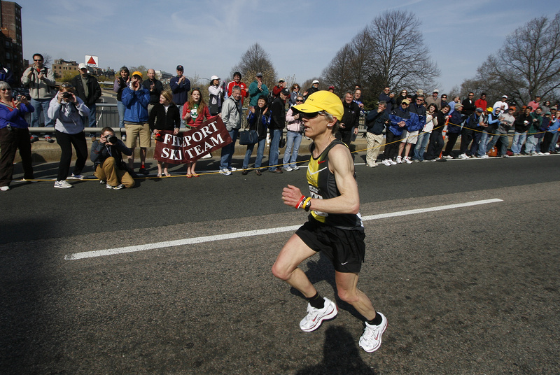 Joan Samuelson of Freeport runs in the Olympic marathon trials in 2008 in Boston. She plans to run in the Chicago marathon.