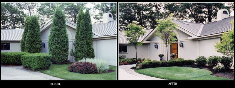 Structure is important in a perennial garden, particularly in the front of the house. At left, overgrown plantings were obscuring the facade. They were removed, at right, to make way for more appropriately sized plants of different colors and textures for maximum interest.