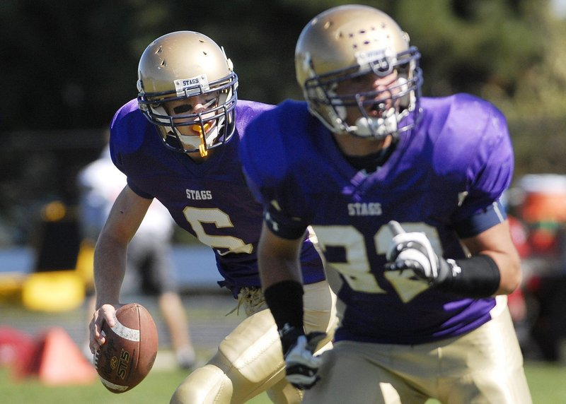 Peter Gwilym of Cheverus knows what to do with the football, whether it's following a block as the quarterback, or knocking down passes as a defensive back.