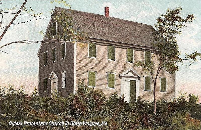 The Old Walpole Meeting House, seen in a circa 1908 postcard.
