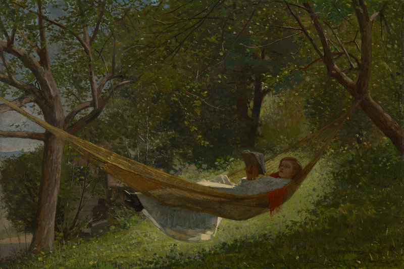 """""""Girl in a Hammock"""" (1873) is at the Colby College Museum of Art."""