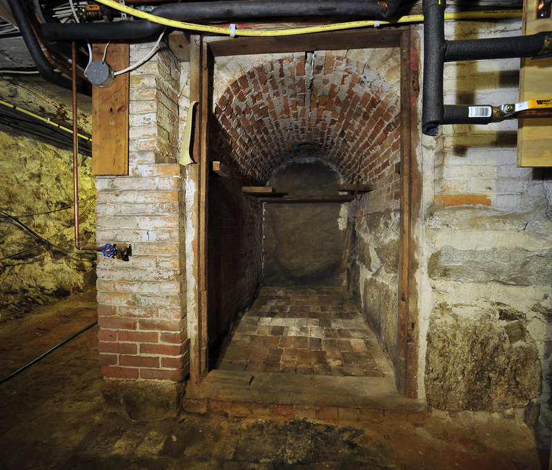 A brick arch in the basement may have been a tunnel. Local lore says the home might have been a stop on the Underground Railroad.