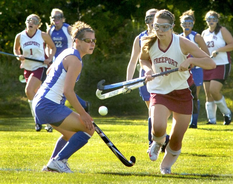 Katie Turner, right, was the leading scorer for Freeport as a sophomore last fall and got a goal in a season-opening 4-0 win over Traip Academy last Wednesday.