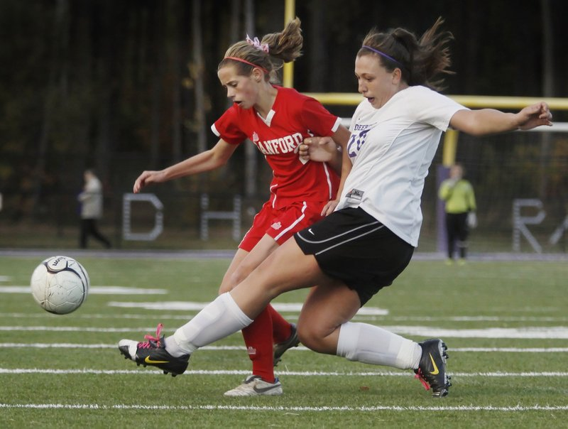 Taylor Littlefield of Sanford, left, is just a sophomore, but last year as a freshman led her team in scoring with eight goals and six assists in the regular season.