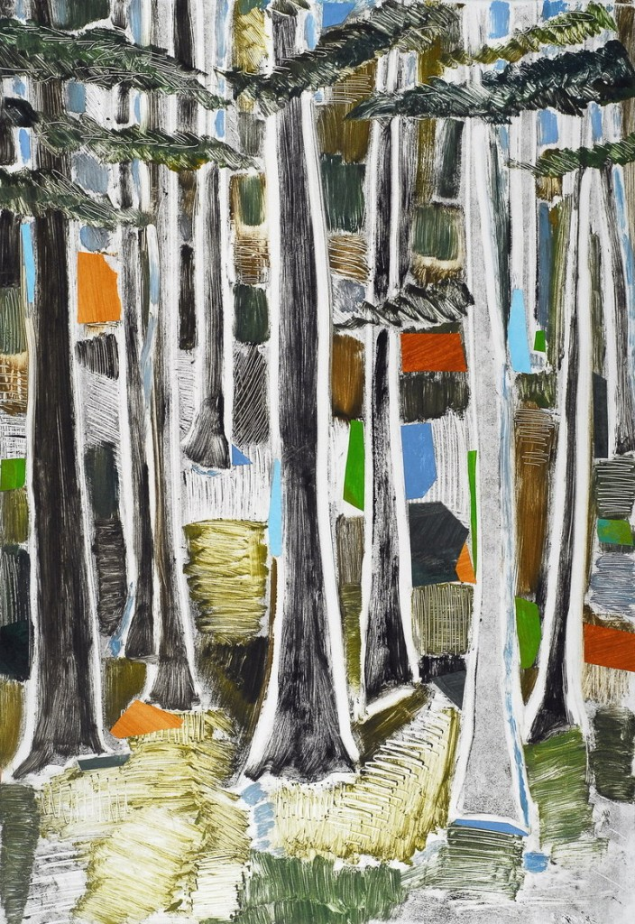 "Robin Brooks' ""Woods Variation #2,"" monotype with chine colle"