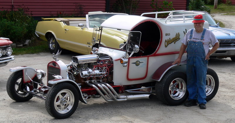 Skip Watkins built this street rod, a replica of a 1905 Oldsmobile