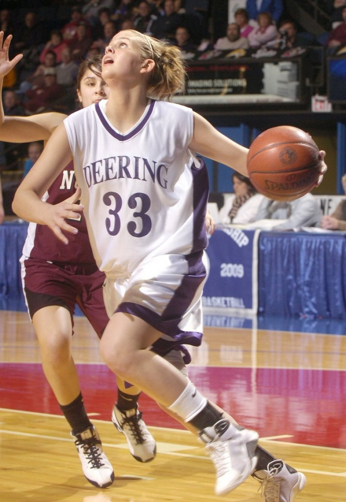 Kayla Burchill will look to score for Deering High this winter, then take her game to the University of Vermont.