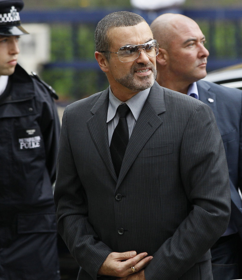 George Michael arrives for sentencing Tuesday at Highbury Corner Magistrates' Court in London.