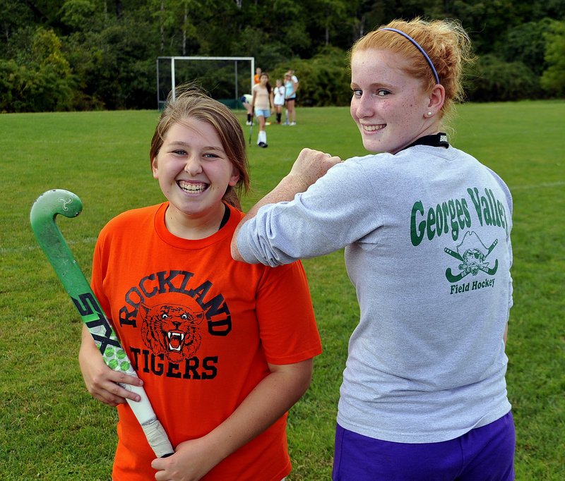 Danielle Bedard still wears her Rockland shirt and Molly Meller has her Georges Valley shirt. But during games now, they're wearing the same colors.
