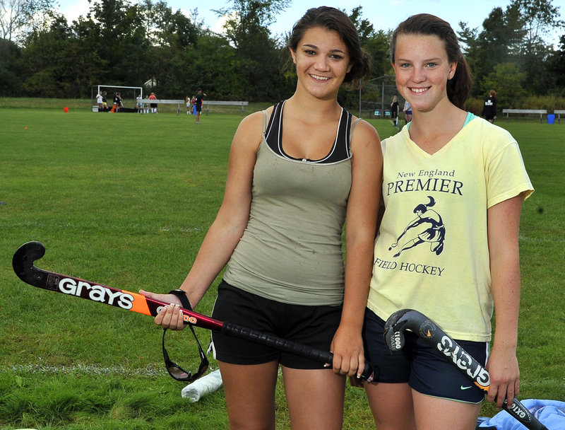 Brooke Fournier, left, was a standout for Georges Valley and Allison Ward was a standout for Rockland. Now they're teammates – and friends.