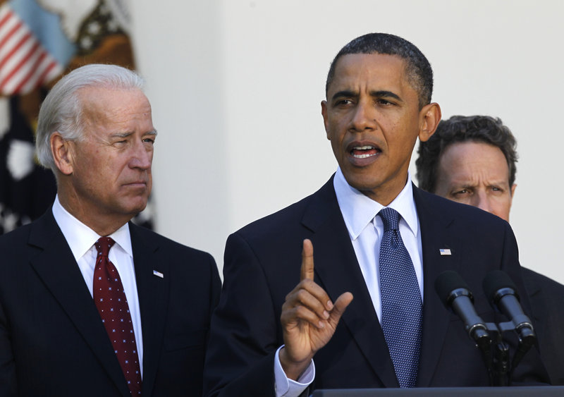 President Obama, with Vice President Joe Biden, left, and Treasury Secretary Timothy Geithner, right, speaks Wednesday in the Rose Garden. His call to end tax cuts to the very rich has put congressional Democrats at odds.