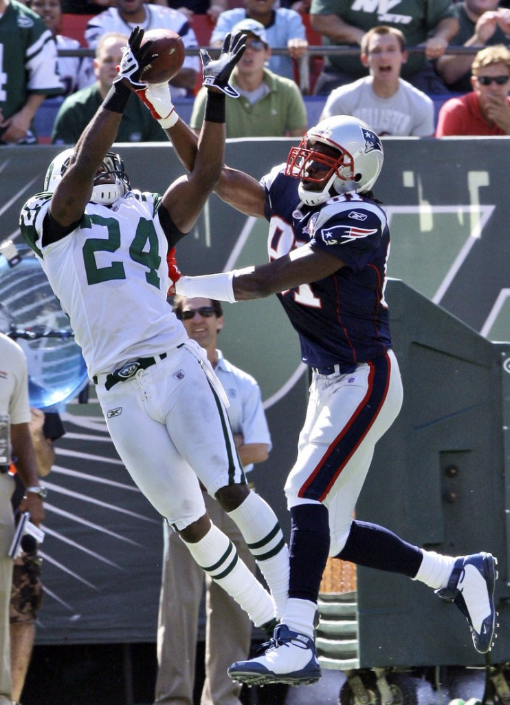 Darrelle Revis of the New York Jets, left, called Randy Moss of the Patriots, right, a slouch. Moss is ready to go against Revis again Sunday.