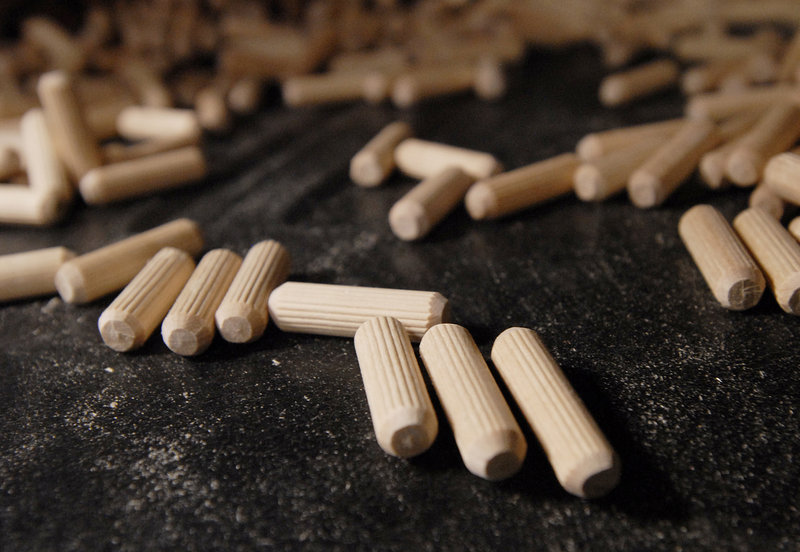 The Saunders Brothers plant is one of only three U.S. factories that made glue pins, at left, the wooden dowels used to join furniture. Since the Chinese have cornered the market, the mill's new owners will resume production of high-quality rolling pins instead.
