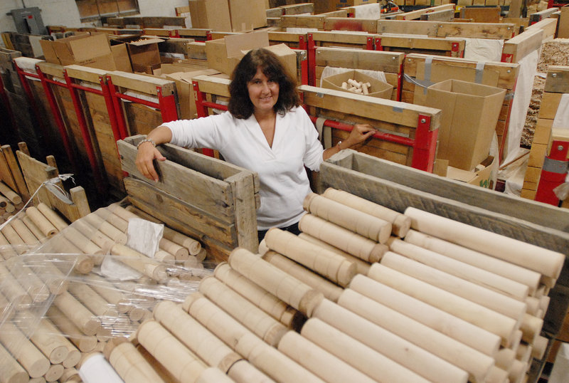 Louise Jonaitis, one of the new owners of a woodworking plant in Locke Mills, is optimistic about its future.