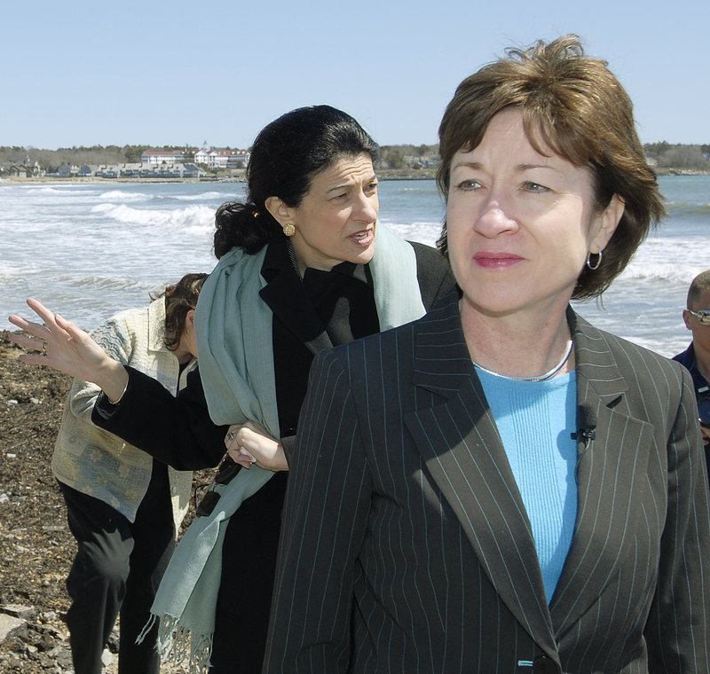 Sens. Susan Collins, foreground, and Olympia Snowe get praise and blame from readers.