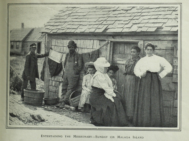 A copy of a photo by Frederick Thompson from Harper's New Monthly Magazine, September 1882, shows residents on Malaga Island.