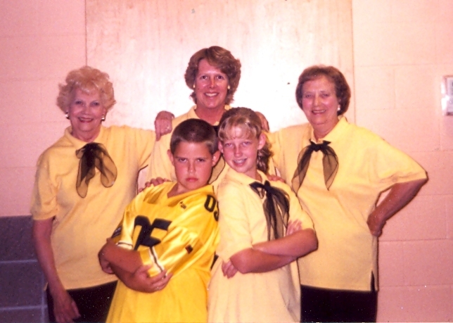 Margaret Robie, left, poses with her daughter, Beth Byrne, center, Byrne's mother-in-law, Joan Kranzberg, right, and grandchildren Kelly and Dan Byrne. They were dressed for a dance recital.