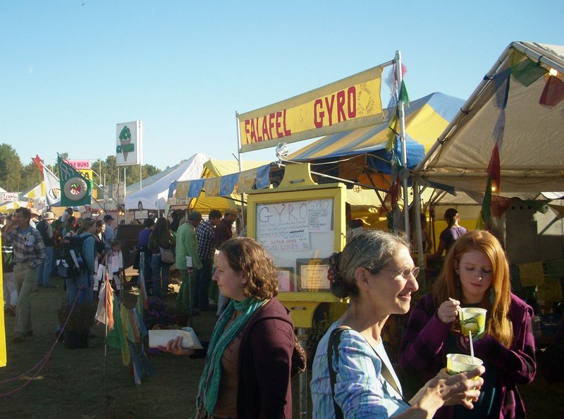 The fair's two food courts always attract big crowds and lines as people queue up to buy scratch-made food prepared from organic ingredients grown in Maine.