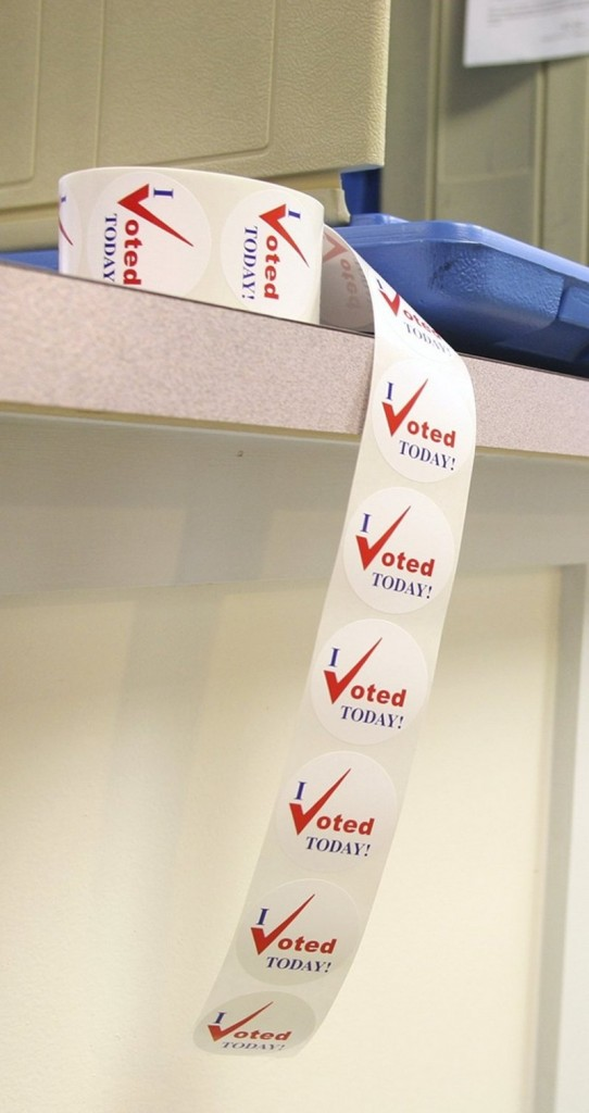 """I voted today"" stickers await absentee voters at the city clerk's office in Portland City Hall last year."