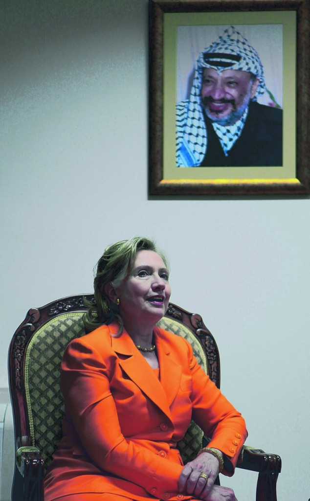 U.S. Secretary of State Hillary Rodham Clinton, seen in the West Bank city of Ramallah last week, conceded the difficulty of resolving Israeli-Palestinian conflict after failing to get agreements on Jewish construction in the West Bank.