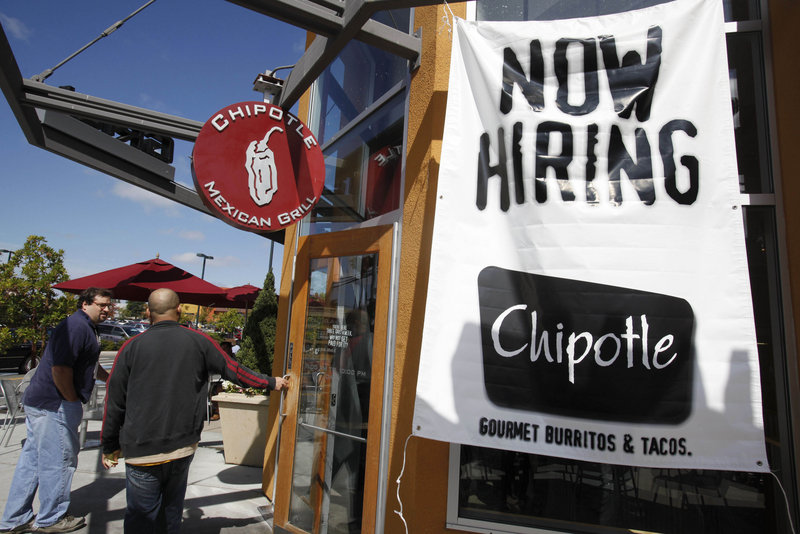 Customers enter a restaurant Tuesday in Mountain View, Calif. Northeastern states are posting job gains in areas such as finance and hotels and restaurants.