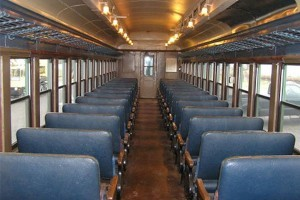 The refurbished passenger coach of the Downeast Scenic Railroad currently takes riders on about a 10-mile trip out of Ellsworth.