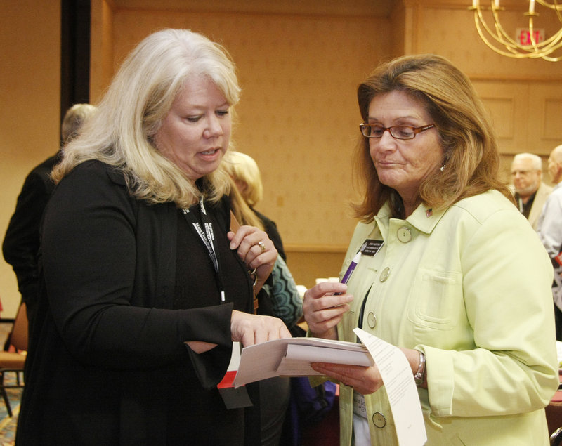 This is a two-line cutline that go Jill Brady/Staff Photographer:Linda Valentino, left, and Cary Olson Cartwright talk together at the Maine Development Foundation's 32nd Annual Meeting Friday, September 24, 2010 at the Holiday Inn By The Bay in Portland.