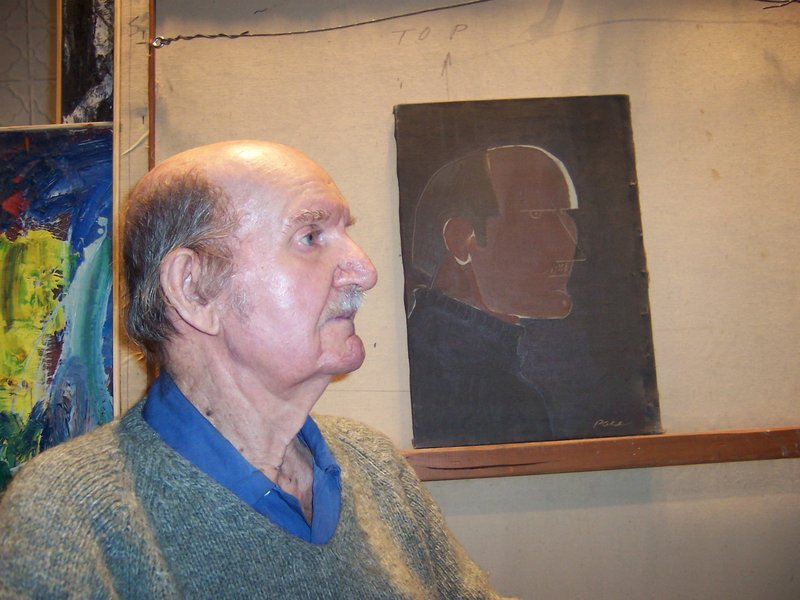 Pace, shown with a self-portrait, painted for many years in a barn studio in Stonington.