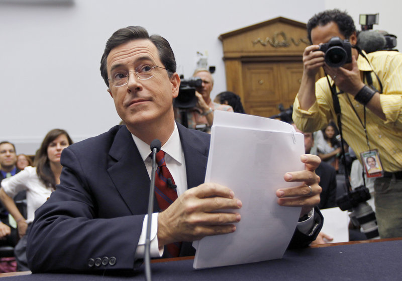 """Comedian Stephen Colbert, host of """"The Colbert Report,"""" testifies Friday before the House Immigration, Citizenship, Refugees, Border Security and International Law subcommittee."""