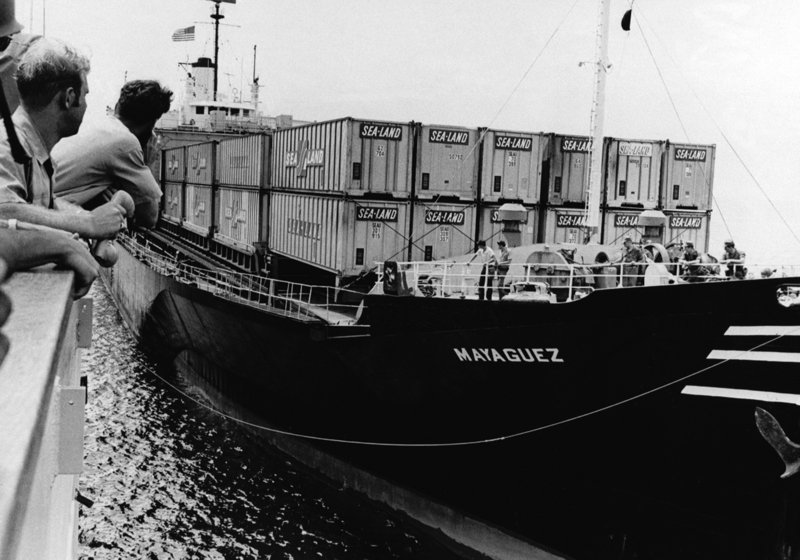 A destroyer escort prepares to tow the U.S.-owned cargo vessel Mayaguez in May 1975. When the ship and its crew were seized off Cambodia, the Ford administration was determined to craft a muscular response documents published by the State Department.