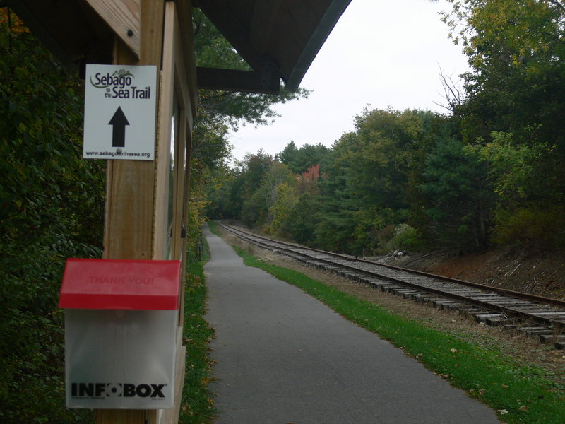 The Sebago to the Sea Trail as seen from South Windham at Route 202 follows the old Mountain Division Rail Line. A ribbon cutting takes place Saturday to celebrate the completion of the first leg of the 28-mile trail.
