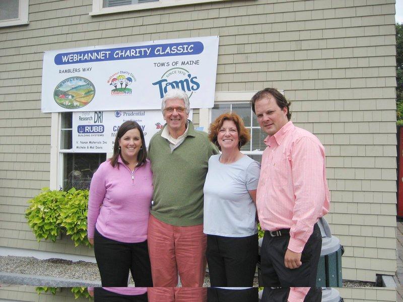 Susan Gilpatric Smart, tourney co-chair, Tom Chappell of sponsor Ramblers Way, Michele Davis, tourney co-chair, and Kirk Kimball, Webhannet head golf pro, helped raise $50,000 with the Putting Children First golf tourney Sept. 17.