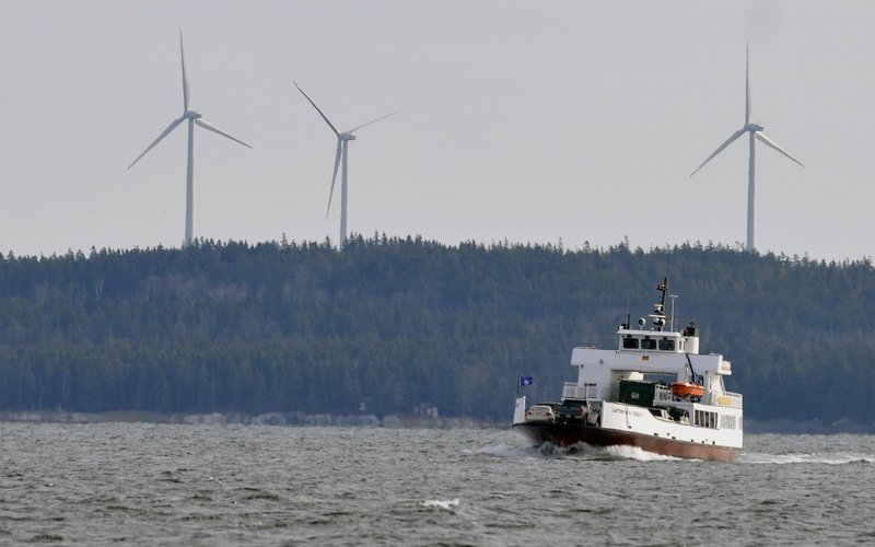 Three wind turbines, each capable of producing 1.5 megawatts of electricity, rise above Beaver Ridge in Freedom. The advocacy group Oceana says that offshore wind on the East Coast could generate 127 gigawatts of power, or 48 percent of the electricity used in the 11 states with the best wind.