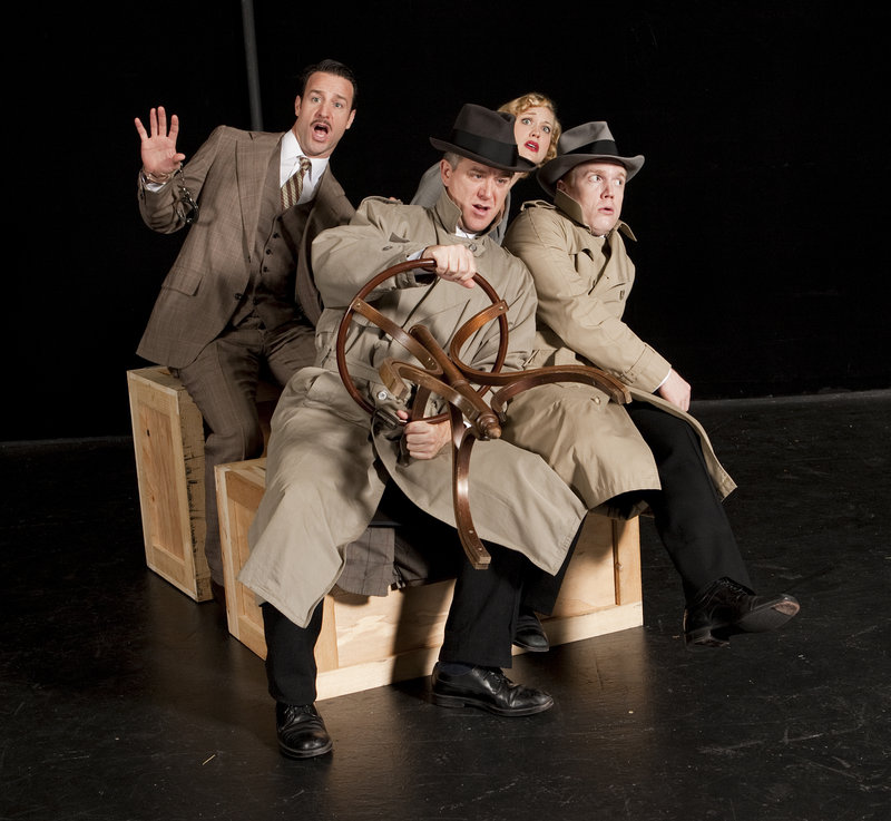 Tortsen Tillhouse and Dustin Tucker, front, left to right, and Paolo Andino and Gardner Reed star in the Portland Stage Company production of The 39 Steps.