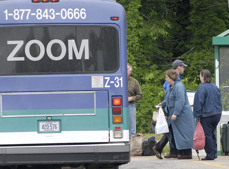 The Zoom commuter bus boards in Biddeford.