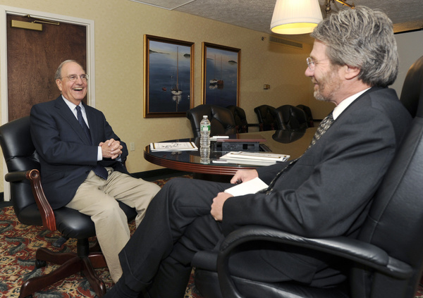 Former Sen. George Mitchell sits down with Bill Nemitz for an interview at the Marriott at Sable Oaks in South Portland on Friday. Mitchell said there are cycles in politics and society's train of thought, which he says partly explain the tea party movement and the sentiment of discontent in the United States.