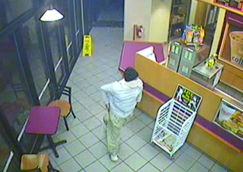 Police are looking for this person who robbed the Dunkin' Donuts at One City Center on Saturday night at 7:55.