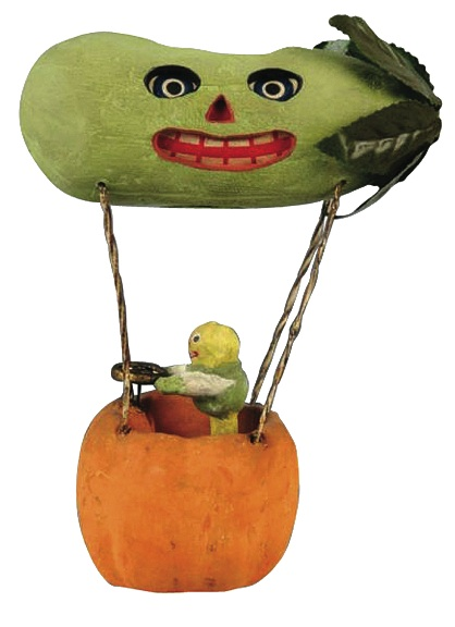 Halloween collectibles can be valuable. This Veggie Man driving a pickle balloon that doubles as a jack-o'-lantern sold for $4,387 at an auction in Pennsylvania featuring rare Halloween items.