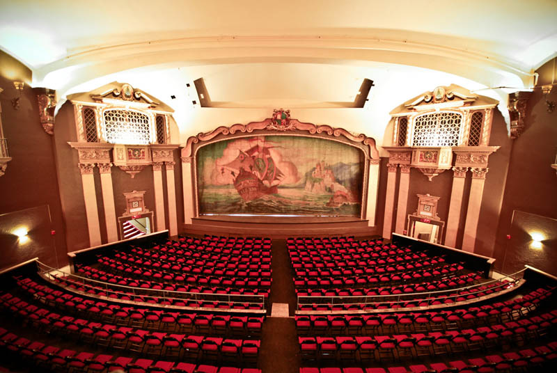 Overview of the renovated theater's interior. Seating has been replaced and the stage raised by 21 inches.