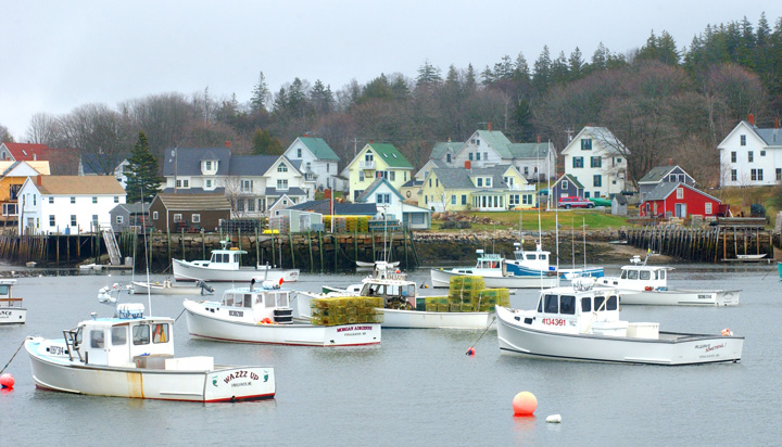 No deaths have been associated with the MRSA outbreak on Vinalhaven, but lobstermen and others have sought treatment at the island medical center. Some have been treated multiple times. Pictured is the classic Maine fishing village on Vinalhaven.
