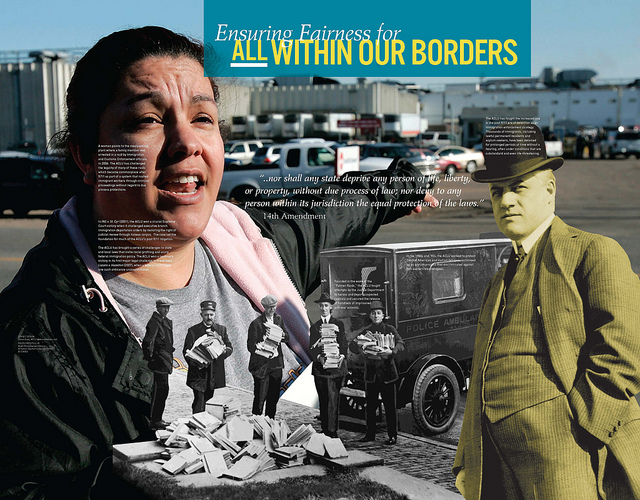 A traveling exhibition in Maine this week hosted by the Maine Civil Liberties Union celebrates advances made by the American Civil Liberties Union in its 90 years.