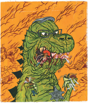 "Arizona Godzilla,"" gouache on board, by Mike Gorman"