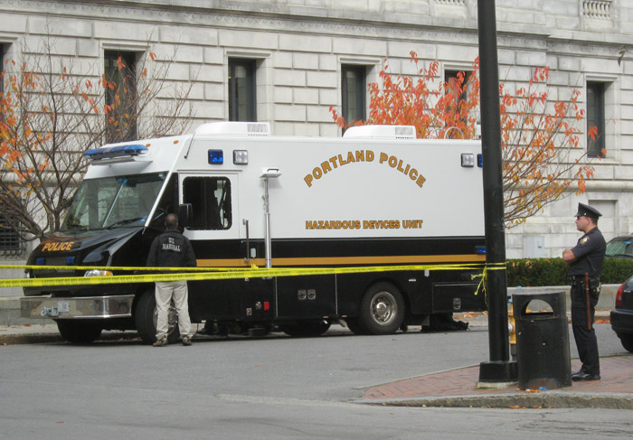 The Portland Police Department hazardous Portland Police Department's hazardous devices unit vehicle is parked adjacent the federal courthouse. Chad Gilley/MaineToday Media