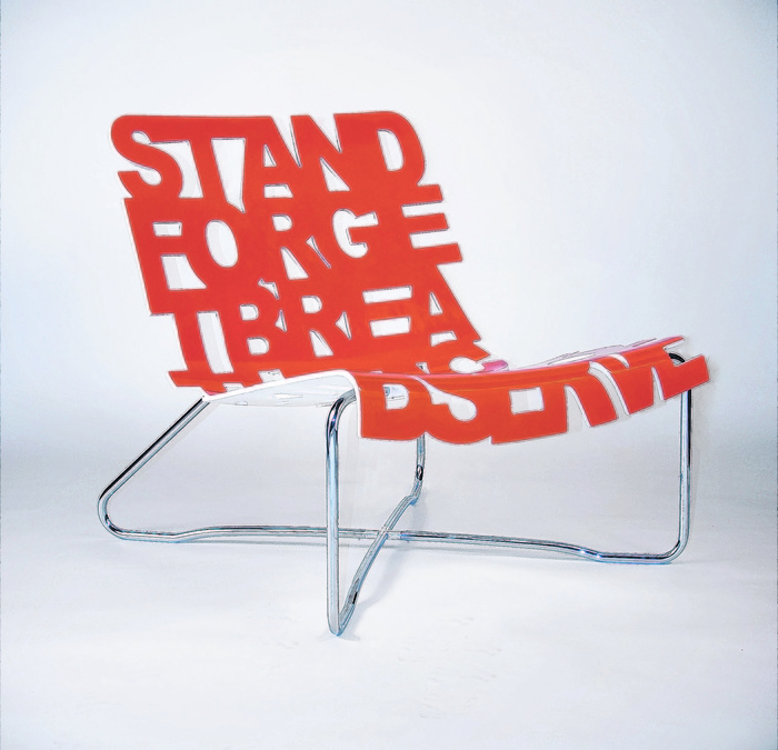 Palette Industries' laser-cut chair, which features a seat formed by the words Stand, Forget, Breathe, Acknowledge and Observe.