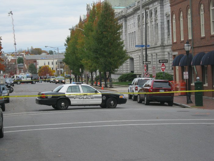 View of Federal Street in Portland, where police are investigating a suspicious package found outside the entrance to the federal courthouse.