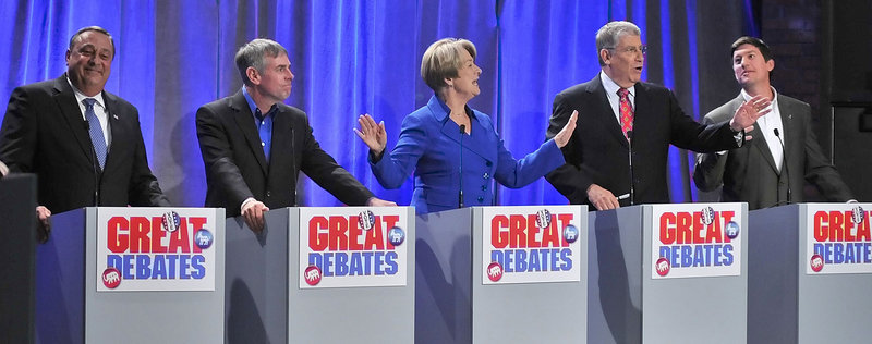 The gubernatorial candidates, from left, Republican Paul LePage, independent Shawn Moody, Democrat Libby Mitchell, independent Eliot Cutler and independent Kevin Scott participate in The Great Debates.